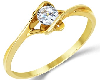 14K Solid Yellow Gold CZ Cubic Zirconia Solitaire Engagement Promise Ring
