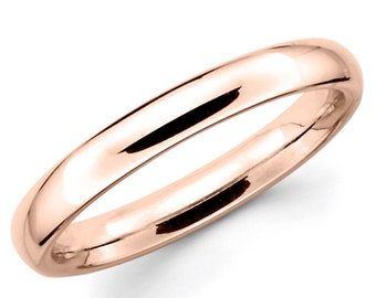 14K Solid Rose Gold 3mm Plain Wedding Band Ring