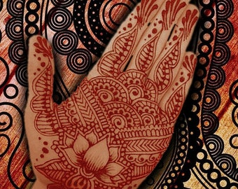 Henna Indian Beauty 2 - Giclee Print