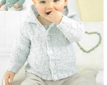 pdf Knitting Pattern Baby Cardigan coat Sirdar Snuggly Aran 1844 0-7yrs  new
