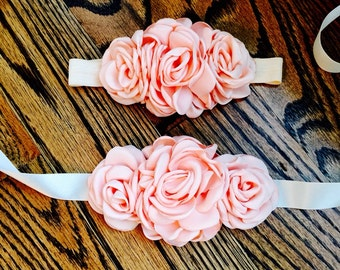 Peach/Ivory/Taupe Vintage Inspired Flower Sash SET or SEPERATES for Infants/Toddlers/Adolescents/Maternity Sash/Flower Girl Sash Set/