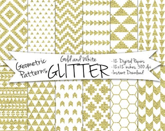Geometric Glitter Paper // Digital Gold Paper // Geometric Printable Paper // Instant Download Geometric Paper // Digital Glitter Paper
