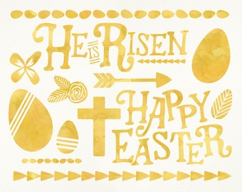 Easter Clip Art // Easter Watercolor Clipart // Digital Easter Clipart // Pastel Clipart // Tribal Yellow Spring Clip Art // Easter Graphics