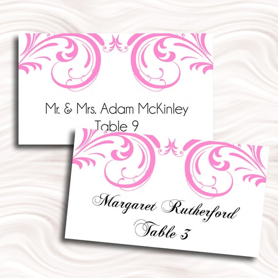 hot pink swirl flat printable escort cards place cards by idodiy