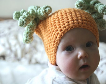 Baby girl beanie, Crochet baby hat, orange infant hat, baby beanie crochet