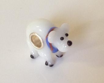 Polar bear charm. Lampwork glass animal bead for european bracelet - silver plated