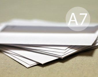 "25 A7 White Envelopes - 5x7 inches (true size 5 1/4"" x 7 1/4"") - A7 White Envelopes"