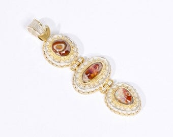 Mexican Fire 8 - Pendant - Sterling Silver and 24K Gold plating - Mexican Fire Opals