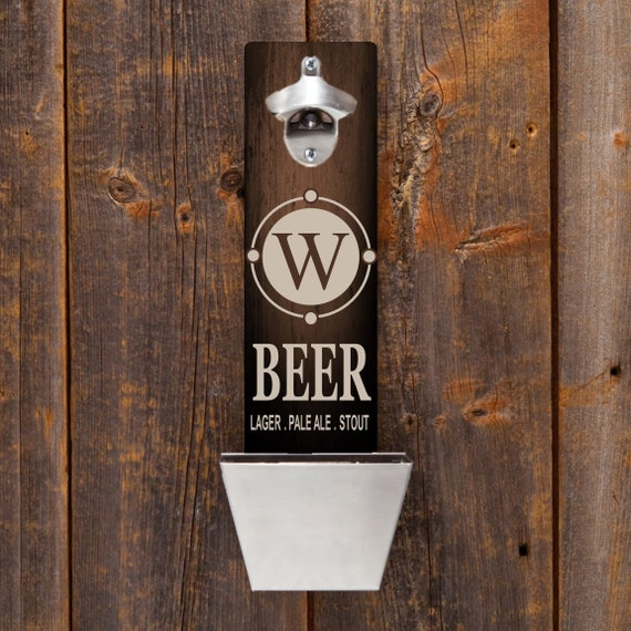 Personalized wood bottle opener wall mounted bottle opener - Personalized wall mount bottle opener ...
