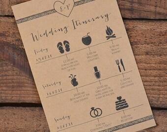 Wedding Itinerary/Schedule~ Wedding Weekend Activities/Events ~ PDF