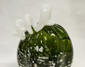 Sparkly Green and White Blown Glass Pumpkin