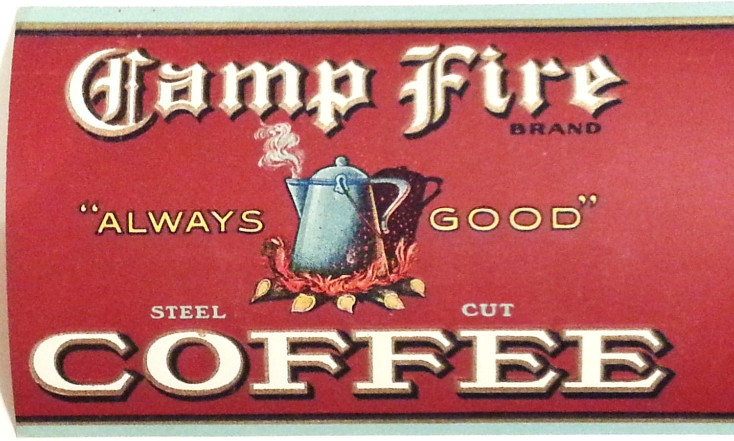 Can A Coffee Maker Left On Start A Fire : Camp Fire Coffee Vintage 1920 s Can Label W. L. Allen