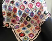 King Size Cotton Flower Granny Square Blanket Vintage Look Afghan Bright Multicolors Cream Border