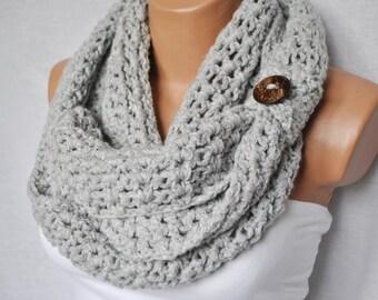 Crochet infinity scarf - Gray infinity scarf - Gray crochet scarf - Button crochet scarf