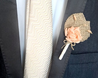 Peach Wedding   Boutonniere, Burlap Boutineers for Wedding, Groom, Groomsmen Rustic Rose Buttonhole