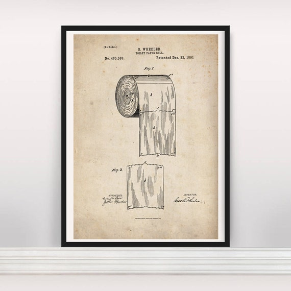 Toilet Paper Roll drawing. bathroom art. us Patent wall by ...
