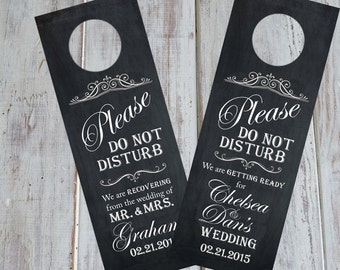 Wedding Hotel Door Hangers - SET OF 5 - Chalkboard Script - Welcome Guest Bag Addition - Retro Vintage Elegant Fun Black and White