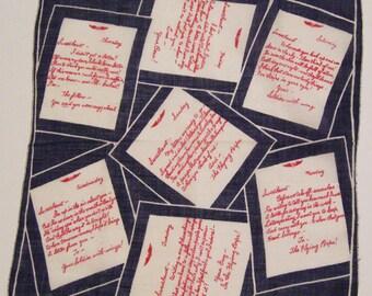 Vintage World War II Love Letters Hankie