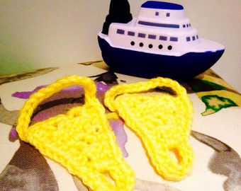 Yellow Barefoot Sandals, Crocheted Baby Sandals, Yellow Baby Bare Foot Sandals, Handmade Baby Sandals, Canada