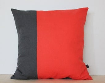 Colorblock Pillow Cover in Coral and Gray | Decorative pillows by AylaGrayDesigns | Modern Home Decor