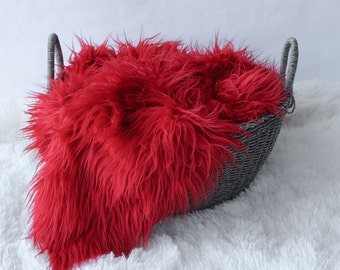 "LARGE  Red Mongolian Faux Fur Prop, 18"" x 30"", Newborn Baby Photo Prop, Fuzzy Layering Blanket. RTS."