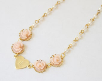 Girl's Personalized Pink Rose Necklace, Pink Flower Initial Necklace, Flower Cabochon Necklace, Flower girl Jewelry, Ruffled Rose Necklace