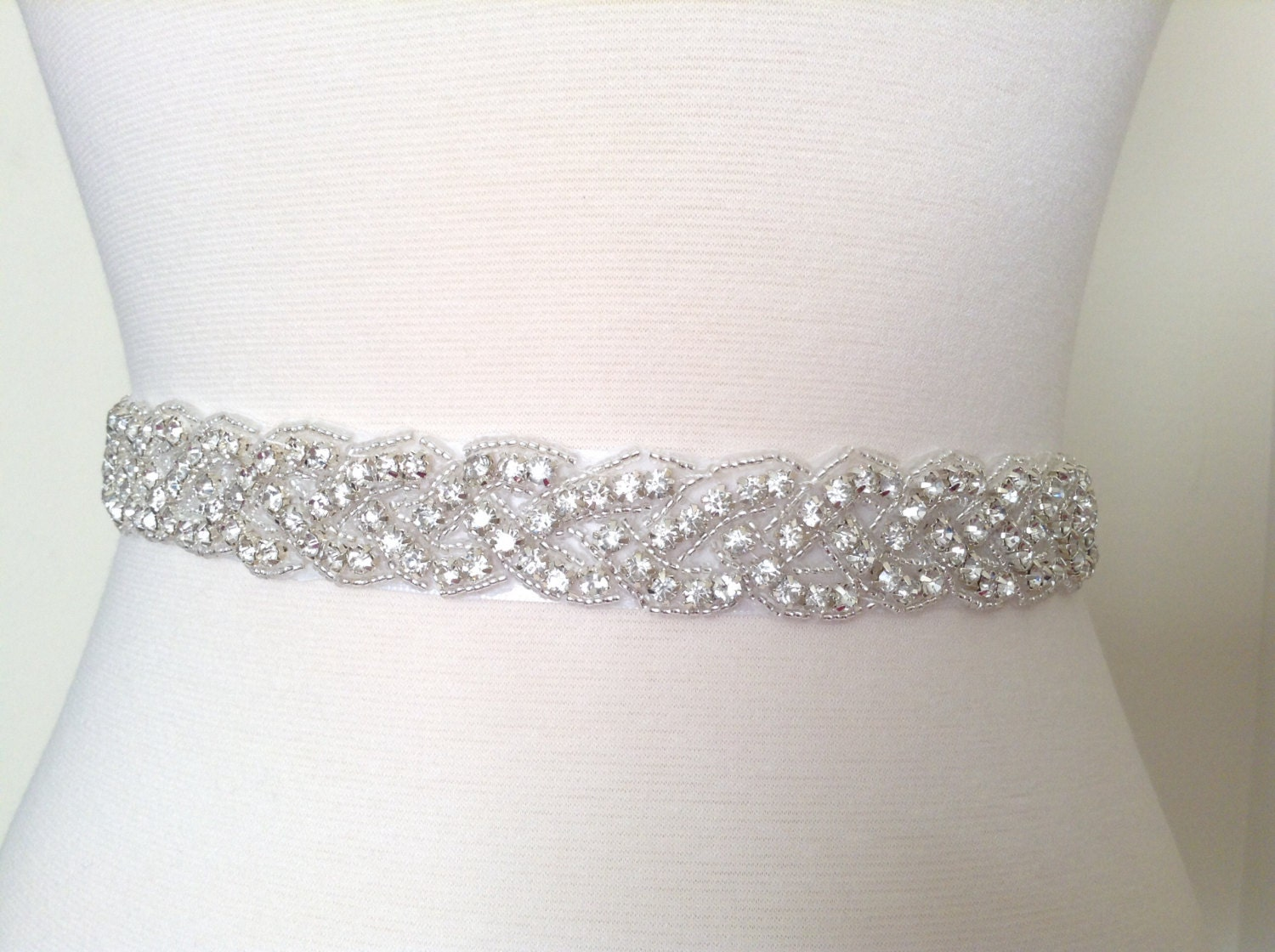 Bridal sash bridal belt wedding dress sash rhinestone sash for Wedding dress sash with rhinestones