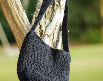 Black Cross Body Bag,  Crocheted Black Bag, Black Purse, Crocheted Bag, Gifts Under 50.00,
