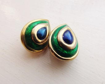 1960's Green, Blue and Gold Clip On Earrings