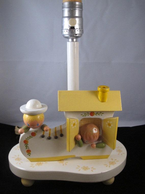 Vintage Nursery Lamp w Night Light Wood Irmi 50's Old ...