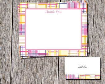 Pink Madras thank you cards