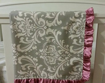 Grey Damask Baby Ruffled Blanket/Play Mat/Changing Pad Backed with Soft Dots Minky