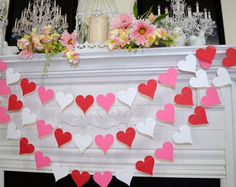 Valentines day garland, Valentines Wedding garland, pink white red heart garland, Valentines day decor, Wedding Garland, Heart Banner