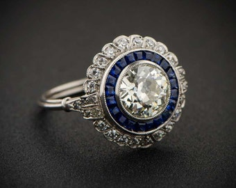 1.66ct Floral Estate Diamond Engagement Ring - Estate Diamond Engagement Ring Collection