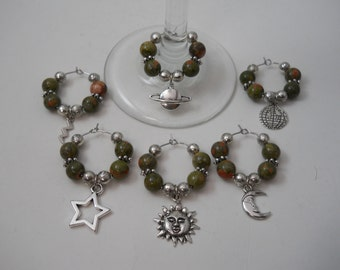 """6 """"Our Planet"""" Theme Charms,Wine Glass Charms, Beaded Wine Charms,Wine Accessories,Our Planet Charm,Wine Glass Hoop,""""Planet"""" Charms,Charms"""