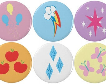 """My Little Pony Friendship is Magic Cutie Mark 2.25"""" Pinback Buttons (3 or 6 Pack)"""