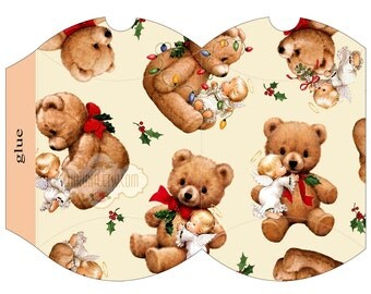 ANGELs and BEARs - Printable Pillow Box - Digital Image Sheet Download Box - Print and Cut