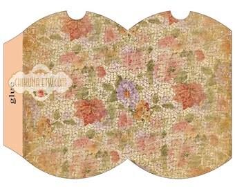 VINTAGE GARDEN - Printable Pillow Box - Digital Image Sheet Download Box - Print and Cut