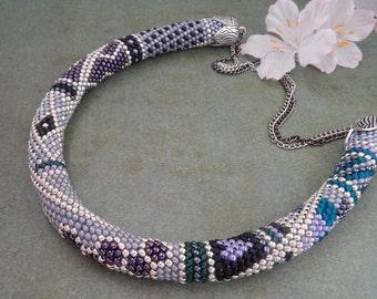 Bead crochet necklace - necklace - necklace - crochet chain - beaded crochet rope - bead crochet patchwork - Princess Budur - jewelry-