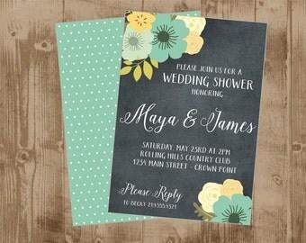 Chalkboard Floral Wedding Shower - Save the Date - Bridal -aqua yellow mint