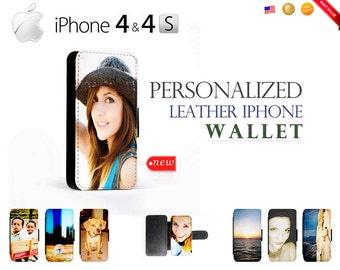 Custom iPhone 4 4S Leather Wallet Case - Personalize w/ Your Own Picture / Photo