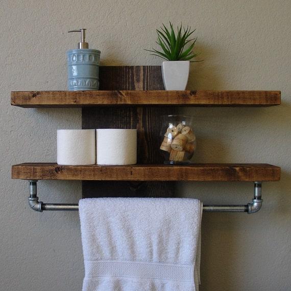 Industrial rustic reclaimed wood 2 tier bathroom wall by - Tablette bois salle de bain ...