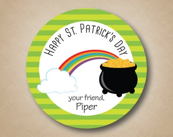 Personalized St Patricks Day Stickers Party Favors St Patricks Day Treat Labels Pot of Gold Sticker Labels St Pattys Sticker St Paddys