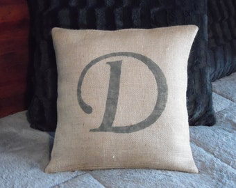 Personalized gray (or custom color) monogrammed letter custom made rustic country burlap pillow cover/sham-Multiple sizes and custom colors