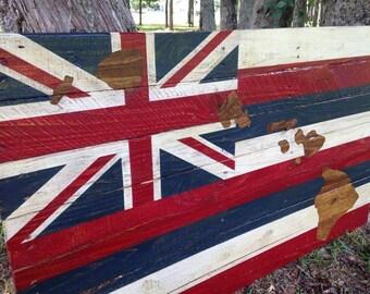 Hawaiian State Flag with Hawaiian Islands - Hand Painted on Reclaimed Wood