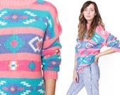 SALE Vintage 90s Pink Navajo Print Pullover Sweater Jumper