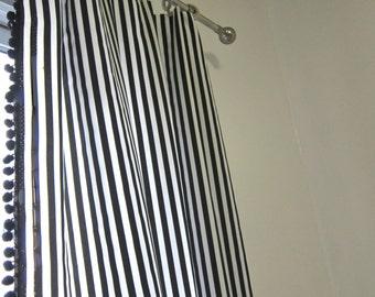 navy striped drapery panels with pom poms vertical. Black Bedroom Furniture Sets. Home Design Ideas