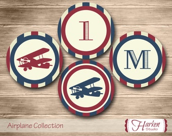 Airplane Party Circles, Airplane Birthday Party Circles, Airplane Cupcake Toppers, Plane Party Circles Airplane Party Decor Vintage Red Blue