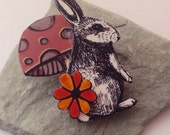 Rabbit Brooch ~ Cute Woodland Toadstool, Autumn Gift.