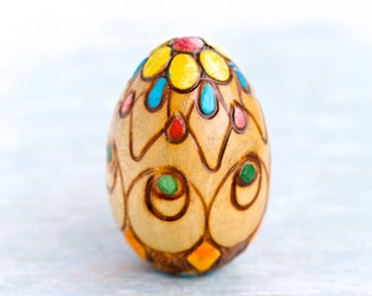 Vintage Carved Wood Egg - Colorful Darner for Socks and Handknits